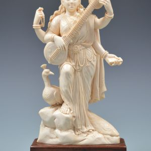 ANTIQUE INDIAN IVORY FIGURE OF SARASWATI
