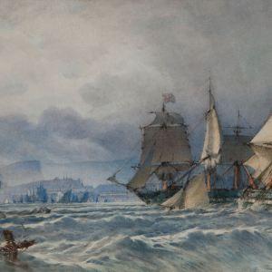 JOHN CALLOW WATERCOLOUR EDINBURGH FIRTH OF FORTH