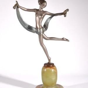 JOSEF LORENZL ART DECO BRONZE FEMALE DANCER