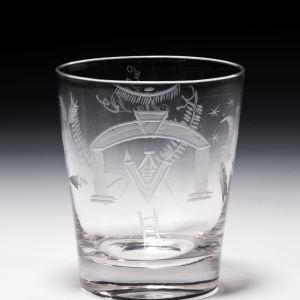 ANTIQUE MASONIC GLASS TUMBLER