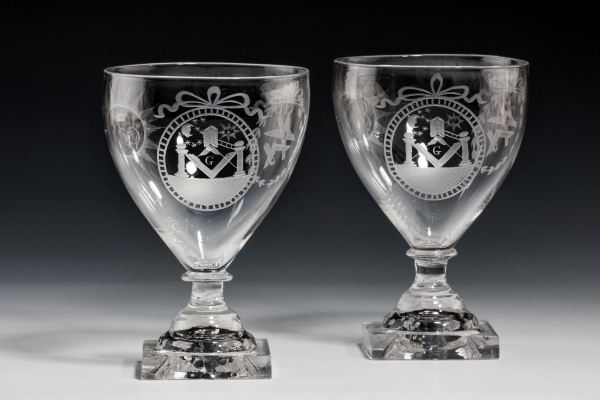 PAIR OF ANTIQUE GLASS MASONIC RUMMERS