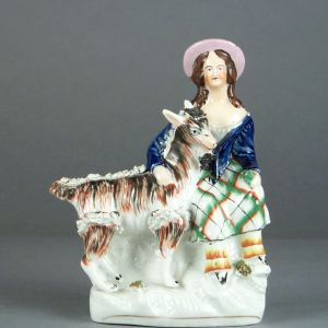 ANTIQUE STAFFORDSHIRE FIGURE OF YOUNG GIRL & GOAT