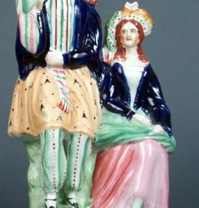 ANTIQUE STAFFORDSHIRE FIGURE THEATRICAL MAN & WOMAN