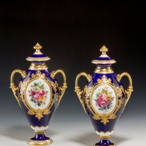 ANTIQUE PAIR ROYAL CROWN DERBY VASES