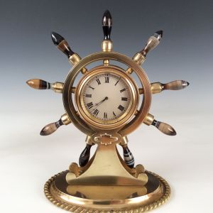 ANTIQUE GILT BRASS SHIPS WHEEL CLOCK