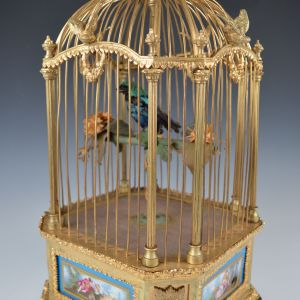 ANTIQUE BONTEMS GILT BRONZE SINGING BIRD CAGE WITH SEVRES PLAQUES
