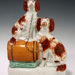 ANTIQUE STAFFORDSHIRE FIGURE OF DOGS