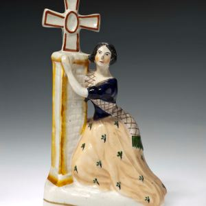 ANTIQUE STAFFORDSHIRE FIGURE OF JENNY LIND AS ALICE