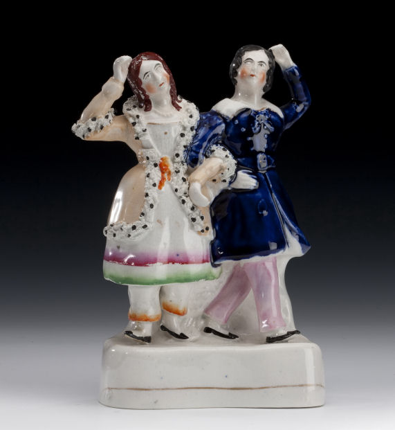 ANTIQUE STAFFORDSHIRE FIGURE OF GLOVER AND VINING