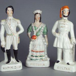 ANTIQUE STAFFORDSHIRE GROUP VICTORIA, NAPOLEON III & SULTAN