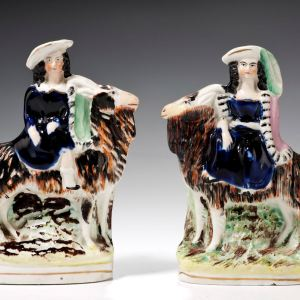 PAIR ANTIQUE STAFFORDSHIRE FIGURES OF CHILDREN AND GOATS