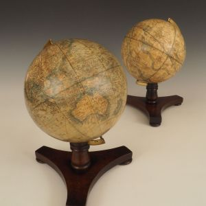ANTIQUE RARE PAIR OF BALE & WOODWARD TABLE GLOBES