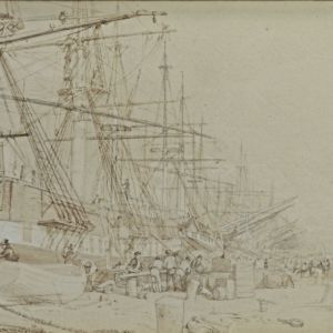 ATTRIBUTED TO THOMAS ALLOM-PENCIL DRAWING-DOCKLAND SCENE