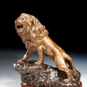 THOMAS FRANCOIS CARTIER ANTIQUE BRONZE LION
