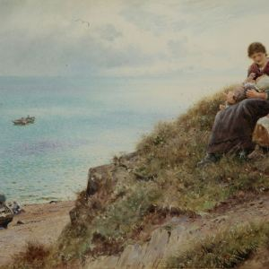 THOMAS JAMES LLOYD WATERCOLOUR FISHERMEN COASTAL LANDSCAPE