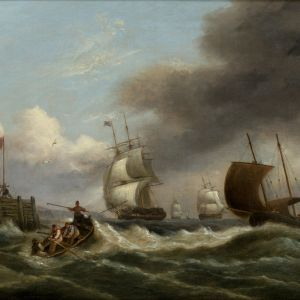 THOMAS LUNY-OIL PAINTING-SHIPPING HARBOUR ENTRANCE