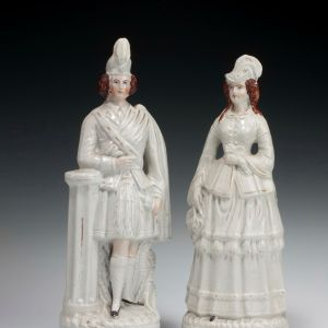 ANTIQUE STAFFORDSHIRE FIGURE OF PRINCESS LOUISE AND MARQUESS OF LORNE