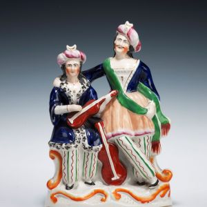 ANTIQUE STAFFORDSHIRE FIGURE OF SELIM AND ZULEIKA