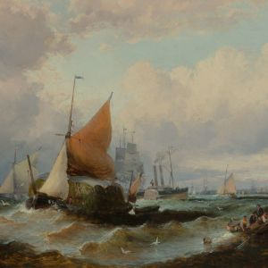 WILLIAM ANSLOW THORNLEY-OIL PAINTING-SHIPPING TILBURY GRAVESEND