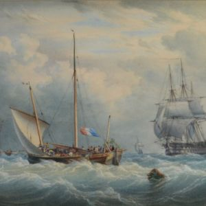 WILLIAM JOY AND JOHN CANTILOE JOY WATERCOLOUR MARINE MILITARY