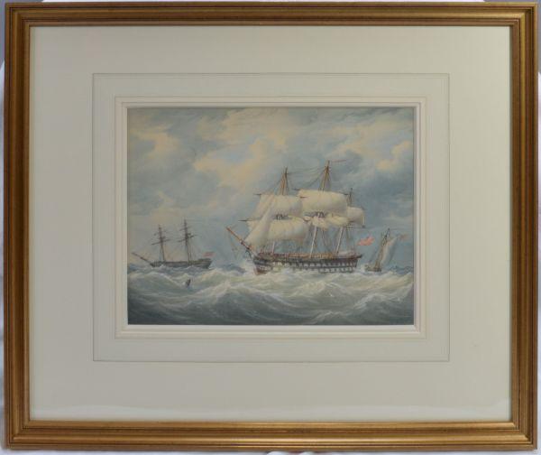 WILLIAM JOY AND JOHN CANTILOE JOY WATERCOLOUR MARINE ROYAL NAVY SHIPS
