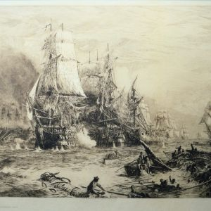 WILLIAM LIONEL WYLLIE - ETCHING - THE BATTLE OF TRAFALGAR