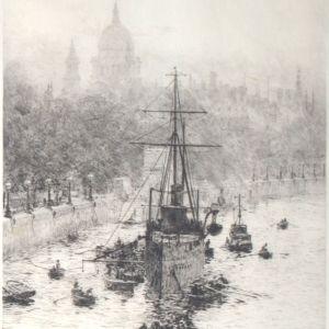 WILLIAM LIONEL WYLLIE - ETCHING - HMS PRESIDENT WITH ST PAULS