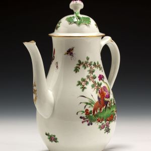 ANTIQUE WORCESTER PORCELAIN COFFEE POT PAINTED BIRDS INSECTS