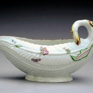 ANTIQUE WORCESTER PORCELAIN COS LETTUCE SHAPED SAUCEBOAT