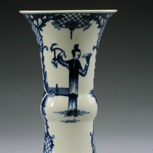ANTIQUE WORCESTER PORCELAIN VASE WITH TELEPHONE BOX PATTERN