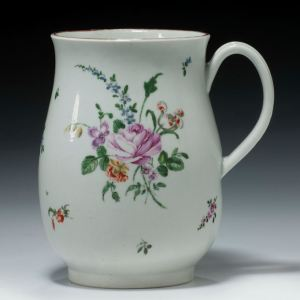 ANTIQUE WORCESTER PORCELAIN MUG PAINTED FLOWERS