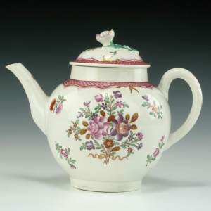 ANTIQUE WORCESTER PORCELAIN TEAPOT CHINESE STYLE