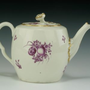ANTIQUE WORCESTER PORCELAIN TEAPOT PAINTED FRUIT
