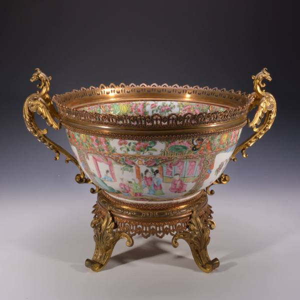 CHINESE PORCELAIN PUNCH BOWL WITH GILDED BRONZE MOUNTS