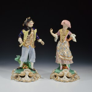 ANTIQUE PAIR DERBY PORCELAIN FIGURES OF SAILOR & LASS