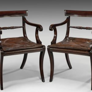 ANTIQUE PAIR OF REGENCY FAUX ROSEWOOD ARMCHAIRS