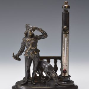 ANTIQUE PATINATED BRONZE FIGURAL THERMOMETER