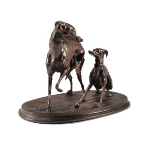 PIERRE JULES MENE ANTIQUE BRONZE DOGS JIJI GISELLE