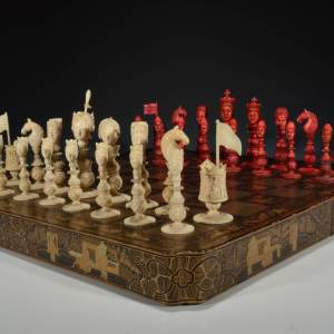 ANTIQUE MACAO IVORY FIGURAL CHESS SET