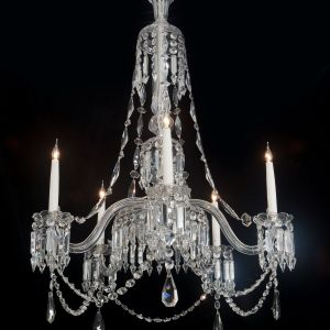 AN ANTIQUE MID VICTORIAN CUT AND MOULDED GLASS CHANDELIER BY F AND C OSLER