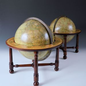 ANTIQUE PAIR OF 9 INCH TABLE GLOBES BY MALBY AND SONS