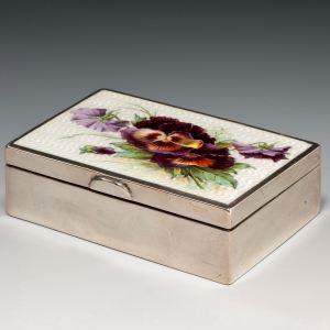ANTIQUE SILVER AND GUILLOCHE ENAMEL BOX