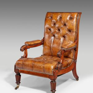 ANTIQUE WILLIAM IV RECUMBENT EASY CHAIR BY DAWS