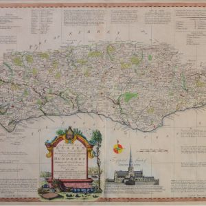 ANTIQUE FRAMED THOMAS KITCHEN - MAP OF SUSSEX