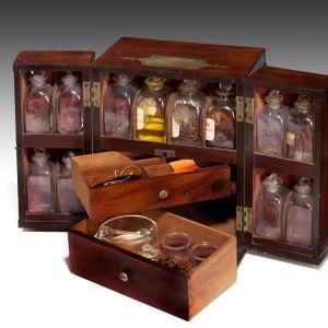 ANTIQUE 19TH CENTURY MAHOGANY APOTHECARY MEDICINE CABINET