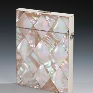 ANTIQUE MOTHER OF PEARL FLIP TOP CARD CASE