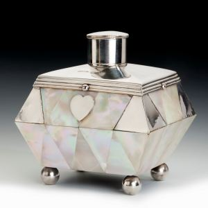ANTIQUE MOTHER OF PEARL AND SILVER TEA CADDY