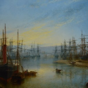 antique-oil-painting-Claude-Thomas-Stanfield-Moore-marine-coastal-ships-sailing-p