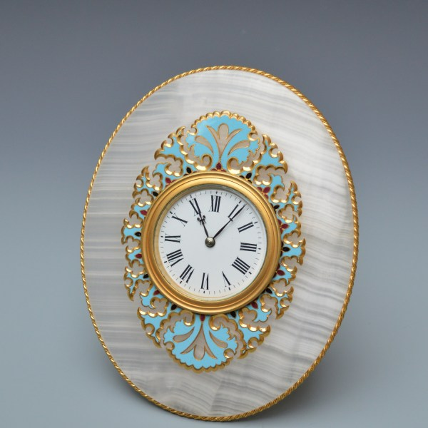 ANTIQUE ONYX AND CHAMPLEVE DESK TIMEPIECE