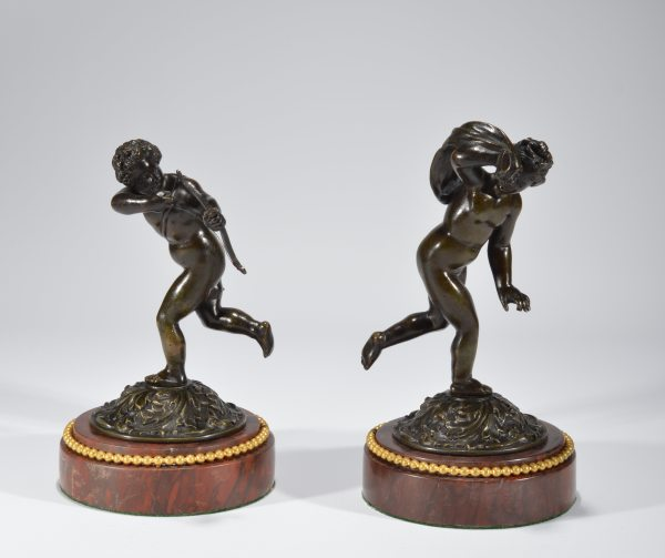 PAIR OF ANTIQUE FRENCH BRONZE CUPIDS